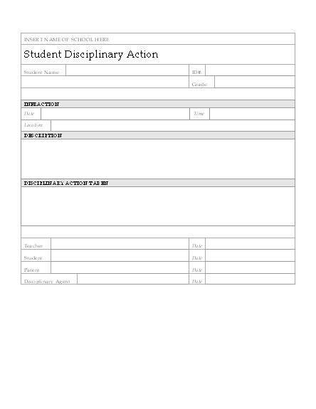 student disciplinary action form  board meeting