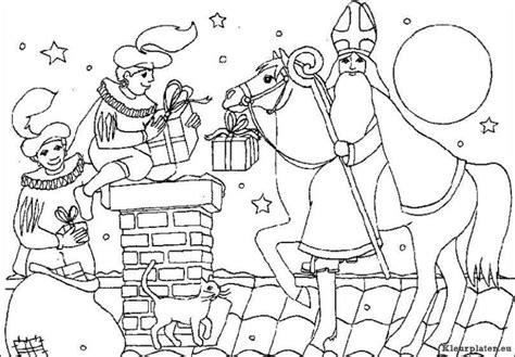 Kleurplaat Zwarte Piet Op Het Dak by Sinterklaas Op Het Dak Kleurplaten Kleurplaten Eu