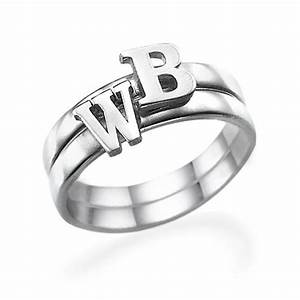 letter ring in sterling silver mynamenecklace With silver letter rings