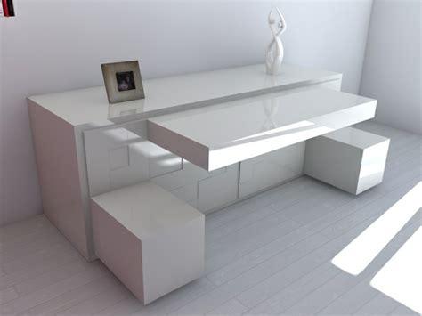 bureau blanc moderne le bureau escamotable décisions pour les petits espaces