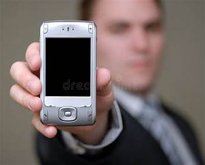 Businessman Shows Cell Phone With Shallow Depth Of Field ...