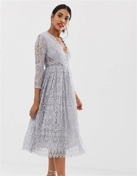 Asos Design Long Sleeve Lace Midi Prom Dress Asos