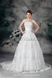 embroidered wedding dress allens bridal lace strapless sweep gown embroidered wedding dress