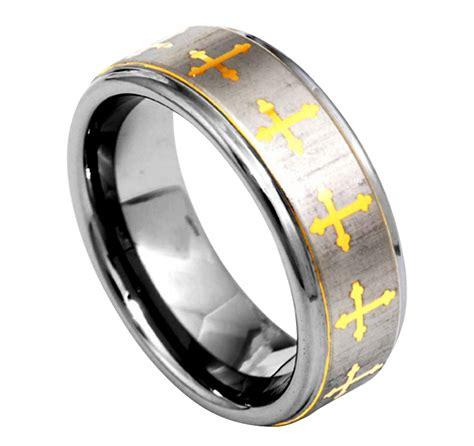 8mm christian cross etch brushed step edage tungsten carbide mens wedding ring ebay