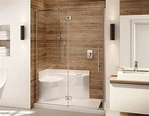 Platinum 60 shower for alcove installation with integrated for Porte douche sans seuil