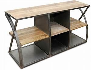 Meuble Industriel Vintage : meuble tv acier et bois vintage industriel ~ Nature-et-papiers.com Idées de Décoration