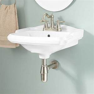 Halden porcelain wall mount bathroom sink bathroom for How to install wall mounted sink