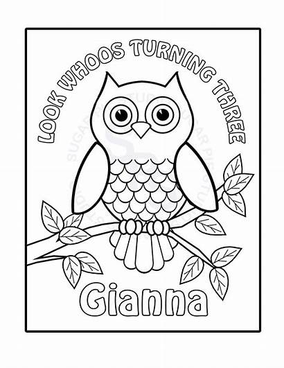 Owl Coloring Pages Birthday Printable Colouring Personalized