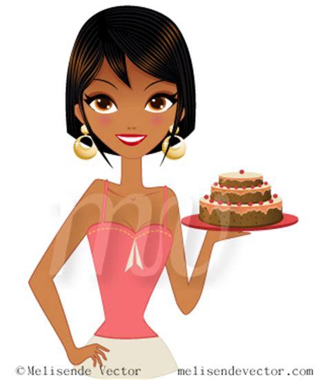 black girl holding cake illustration