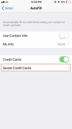 One can easily see saved credit cards information including card number and expiration date on iphone using the safari autofill settings. How To View Saved Passwords And Credit Cards In iPhone Running iOS 12?