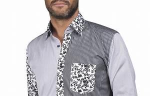 Chemise Noir Et Blanc : chemise homme patchwork noir et blanc rayures et fleurs ~ Nature-et-papiers.com Idées de Décoration
