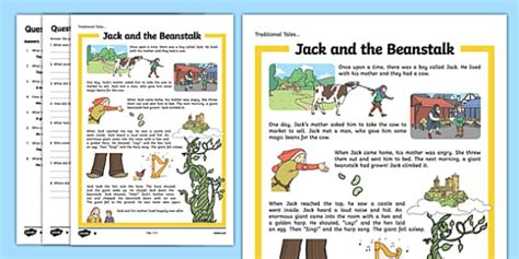 jack and the beanstalk traditional tales reading comprehension activity