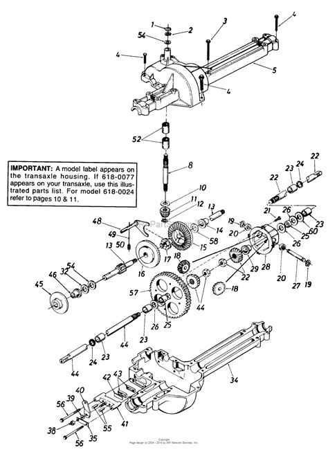 mtd 132 455f190 l 12 1992 parts diagram for single speed transaxle 618 0077