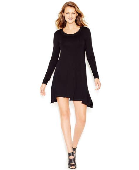 t shirt dresses kensie sleeve scoop neck t shirt dress in black lyst
