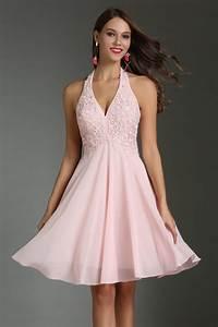 Robe Pour Temoin De Mariage : robe de cocktail rose courte col am ricain appliqu e ~ Melissatoandfro.com Idées de Décoration