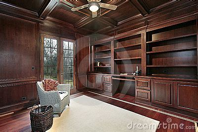 cherry wood paneling library royalty  stock image