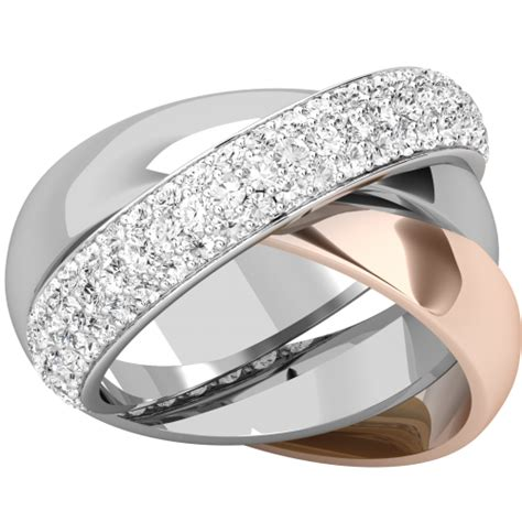 3 band russian wedding ring in 18ct rose gold