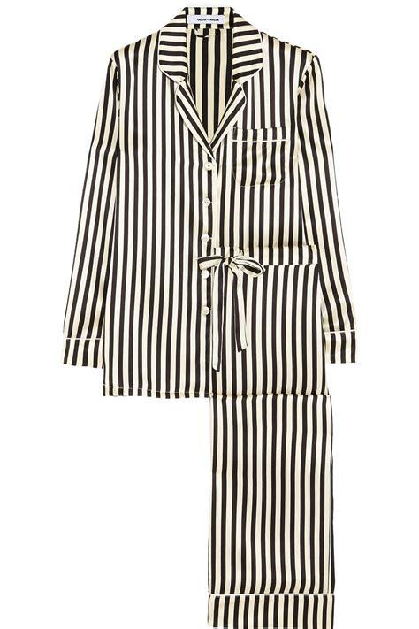 P114 Stripe Pajamas Set lyst halle lila striped silksatin pajama