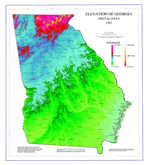 Maps - Elevation Map of Georgia - GeorgiaInfo