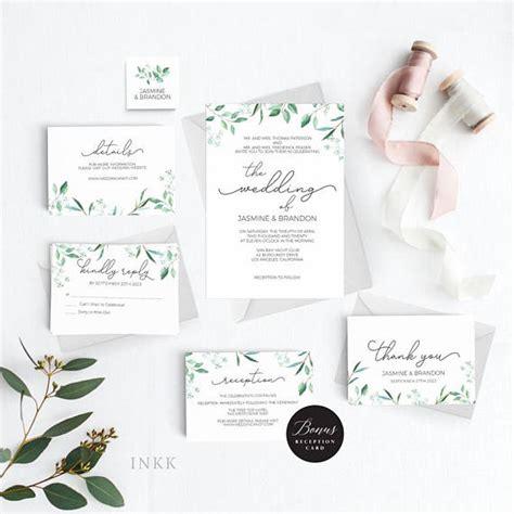 rustic wedding invitation template greenery wedding