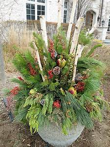 Here, Is, Another, Winter, Container, Using, Birch, Branches, Pepper, Berries, And, A, Variety, Of, U2026
