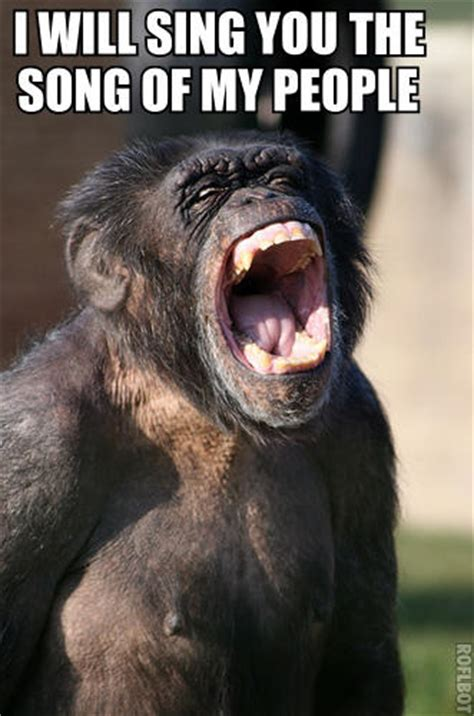 Chimp Meme - singing chimpanzee is singing the song of my people know your meme