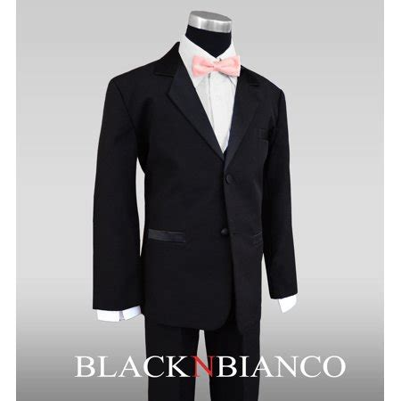 light pink tuxedo boys tuxedo in black with a light pink and black bow tie