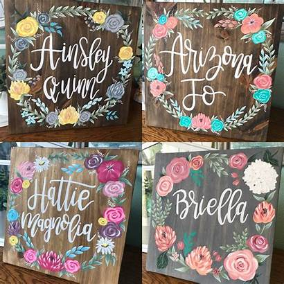 Nursery Signs Painted Names Madison Floral Wood