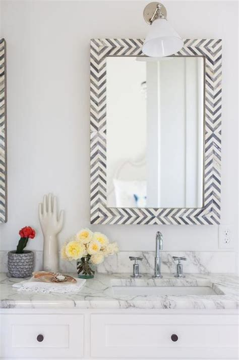 white  black bathroom  gray bone herringbone