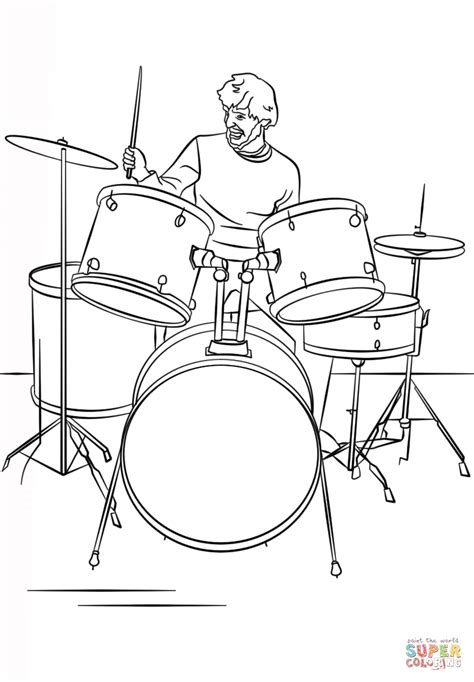 coloring set drum set player coloring page free printable coloring pages