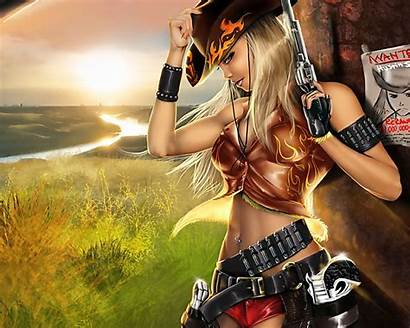 Outlaw Cgi Wallpapers Backgrounds Cowgirl Pistol Weapons