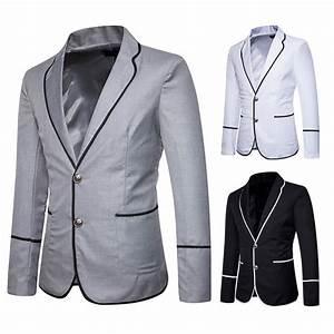 Veste Homme Été 2018 : 2018 nouveau blazer homme veste de costume homme deux boutons pour printemps noir gris clair ~ Nature-et-papiers.com Idées de Décoration