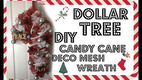 diy candy cane deco mesh wreath tutorial dollar tree