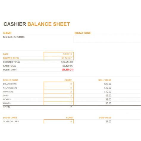 Exle Cashier Description by Free Sle Daily Excel Cashier Balance Sheet Template Trainingables