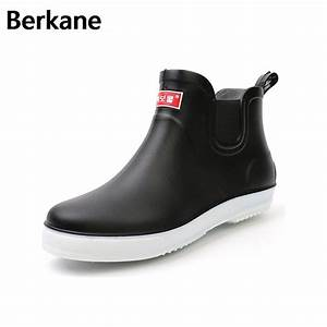 Black Rubber Rain Boots Mens Pvc Slip On Anti slip Casual ...