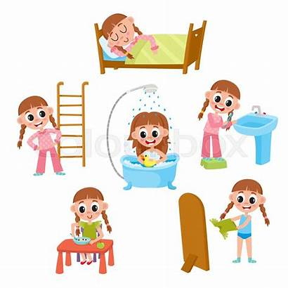 Routine Daily Morning Cartoon Vector Eating Dressing