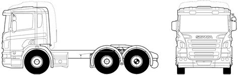 scania rla  mna twin axle heavy truck blueprints  outlines