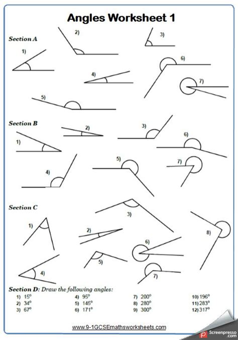 drawing  measuring angles maths worksheet  answers