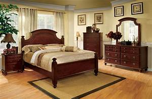Gabrielle, Ii, Elegant, European, Cherry, Bedroom, Set, With, Antique, Gold, Knobs, Cm7083