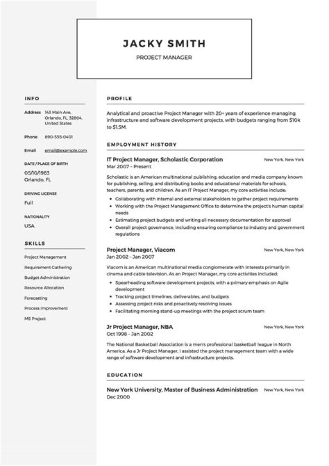 12 project manager resume sle s 2018 free downloads