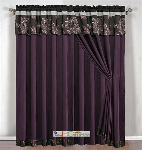 4 pc jacquard floral striped curtain set purple black gray