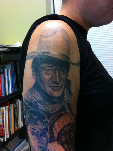 john wayne portrait  black  grey tattoos