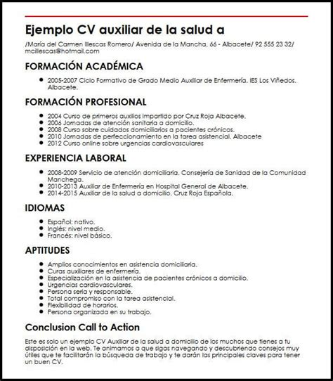 établir Un Cv by Ejemplo Cv Auxiliar De La Salud A Domicilio Micvideal