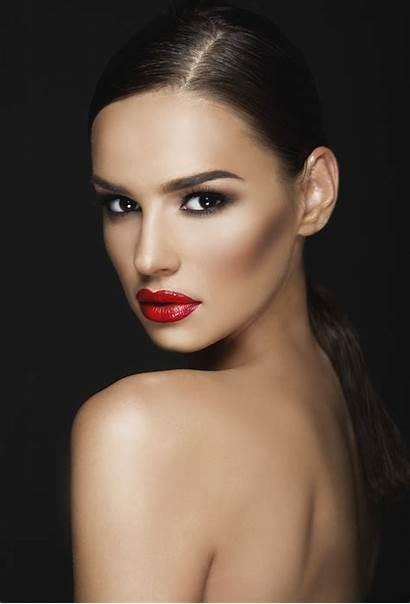Beauty Woman Dark Portrait Background Models Cosmetic