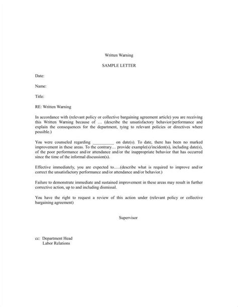 verbal warning template 9 verbal warning follow up letter templates free sles exles formats free