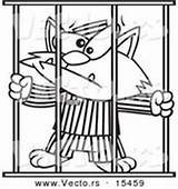 Coloring Prisoner Jail Outline Cartoon Cat Clipart Jailed Vector Bars Royalty Illustrations Woman Behind Designs Vecto Rs sketch template