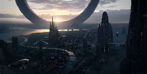 science fiction future city sunrise wallpapers hd