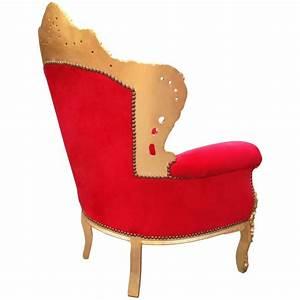 Fauteuil De Style : grand fauteuil de style baroque tissu velours rouge et bois dor ~ Teatrodelosmanantiales.com Idées de Décoration