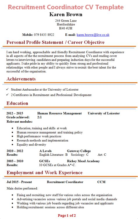 Recruitment Coordinator Resume Cover Letter by Cover Letter With Graduate Application 16 Free And