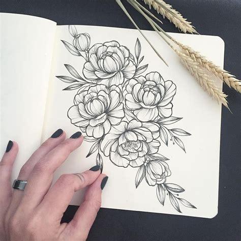 ideas  peony drawing  pinterest peonies tattoo peony  floral arm tattoo